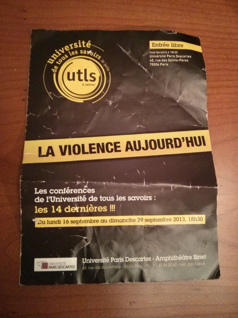 Programme : La violence aujourd'hui